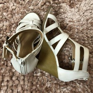 attention Shoes - Women's White Strapped Wedges